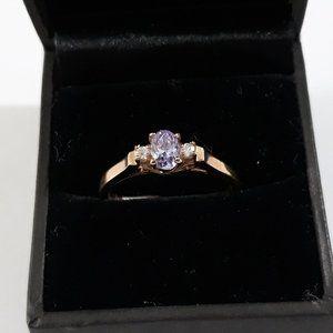 Sparkle Amethyst Cubic Zirconia Ring 18k hge